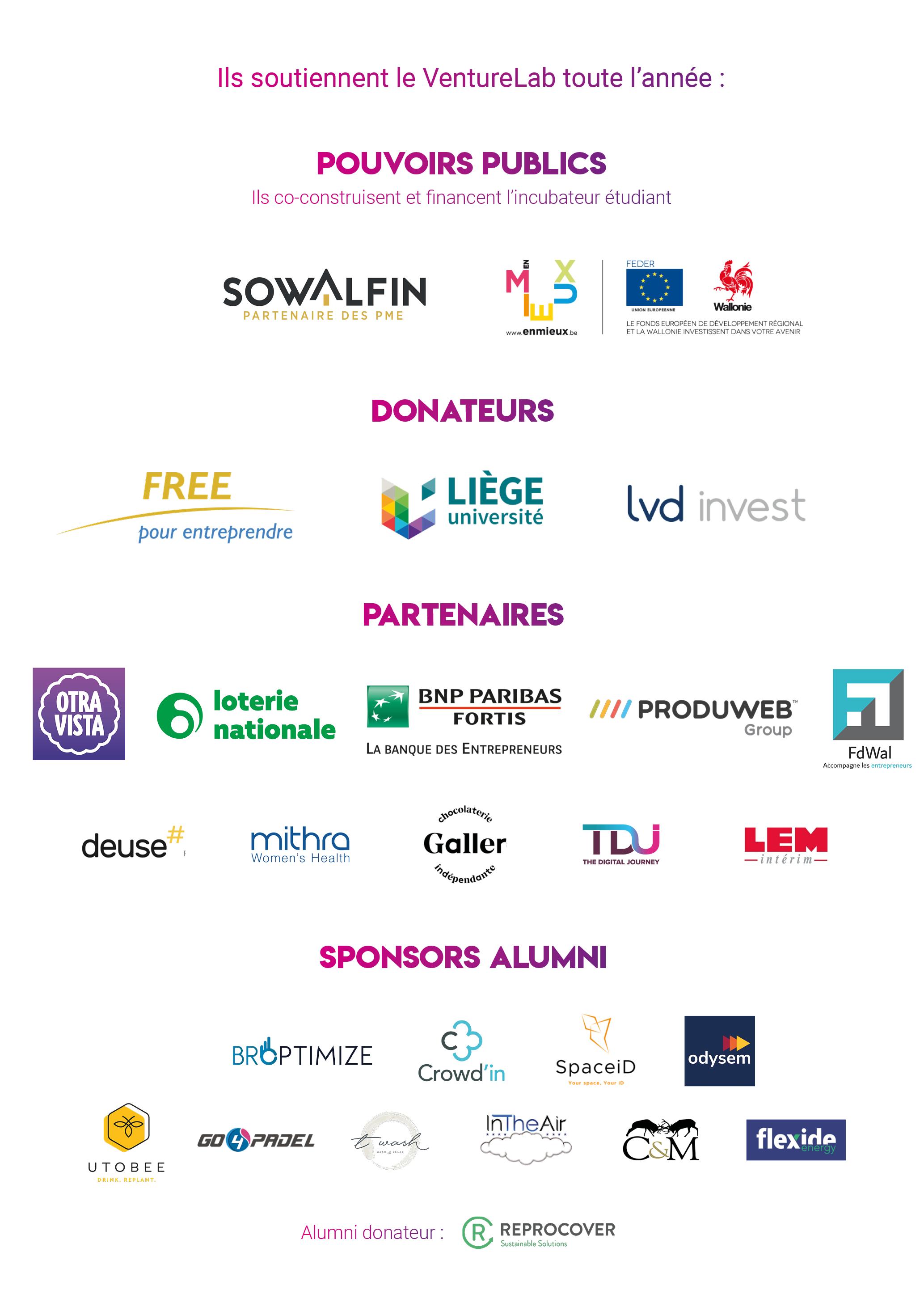 Les sponsors du VentureLab